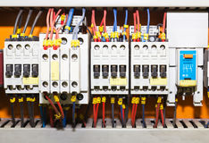 Control panel with circuit-breakers1 Royalty Free Stock Images