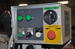 Control panel of the CNC lathe machine. Selective focus stock image