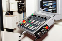 Control panel of CNC machine. Close up stock photo