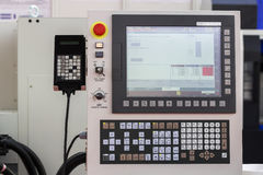 Control panel of a cnc machine. Programmable machine. Selective focus and shallow dof Royalty Free Stock Photos