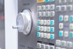 Control panel of CNC machining center. Shallow depth of field. Royalty Free Stock Photos