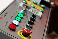 Control panel of CNC router. Close up of control panel of CNC router. Selective focus stock photos