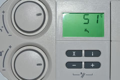 Control panel on combi boiler Stock Photo