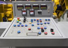 Control panel for concrete mixing plant. Close up production construction technology energy industry board industrial electric electrical factory technical stock photos