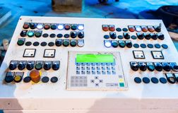 Control panel on construction plant Stock Images