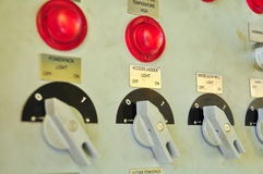 Control panel for control the machine. Switch on the panel and control by user. Function emergency and operation Stock Photo
