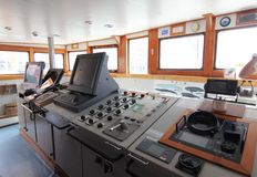 Control Panel and Dashboard in Ship Cabin stock image
