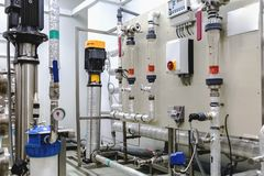 Control panel equipment on pharmaceutical industry Stock Images