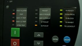Control panel with flashing LEDs stock video footage