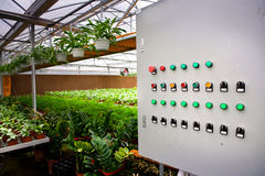 Control panel in the greenhouse Royalty Free Stock Photos