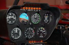 Control panel in a helicopter cockpit Stock Photo