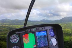 Control panel in a helicopter. Helicopter Flight Control Panel While on Tour Stock Images