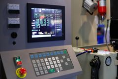 Control panel of industrial CNC equipment. Selective focus stock photo