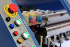 Control panel of large format printer. Selective focus royalty free stock images