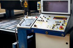 Control panel of a laser cutting machinery Stock Photos