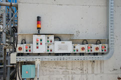 Control panel with light indicators. Controlling technology process Stock Photography