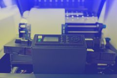 Control panel of line printer or large dot printer for job of back office report. Or many information printing stock photography