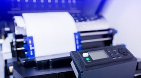 Control panel of line printer or large dot printer for job of back office report. Or many information printing royalty free stock photo