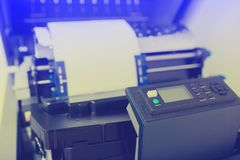 Control panel of line printer or large dot printer for job of back office report royalty free stock image