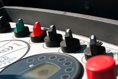 Control panel of a machinery. Dashboard of a machinery for the rebuilding of roads royalty free stock photo