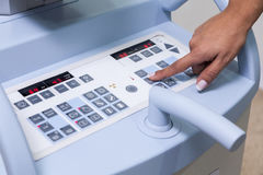 Control panel of medical machine. Machine control panel in the hospital Stock Photography
