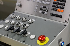 Control panel of metalworking lathe. Control panel of modern metalworking lathe. Selective focus Royalty Free Stock Photography