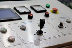 Control panel of modern industrial equipment. Selective focus stock photos