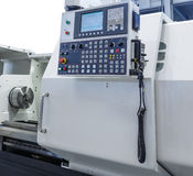 Control panel of the modern lathe with CNC. Control panel of modern lathe with CNC stock photo
