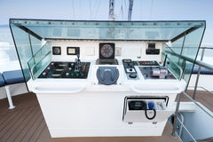 Control panel of modern sailing ship. Front view Royalty Free Stock Photo