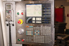 Control panel and monitor at programmable machine Royalty Free Stock Photo