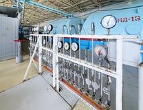 The control panel oil pressure measurement in steam turbine units. Stock Photos