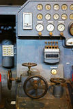 Control panel of old industrial machinery. Grunge control panel of old industrial machinery stock photo
