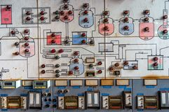 Control panel in old laboratory Stock Photos
