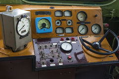 Control panel of the old locomotive. Place of the driver of the retro locomotive Royalty Free Stock Photos