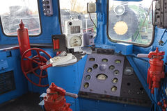 Control panel of the old locomotive. Place of the driver of the retro locomotive Stock Photography