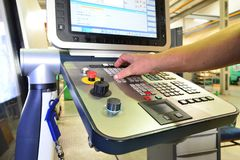 The control panel of the program of work on the control panel of the precision CNC machining center, the processing of the manufac royalty free stock photography