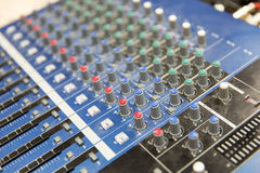 Control panel at recording studio or radio station Stock Photos