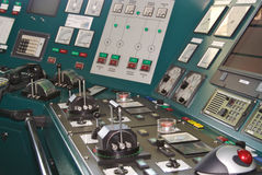 Control Panel on a ships bridge. Complex control panel on a ships bridge Royalty Free Stock Photos