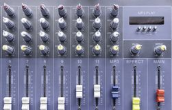 Control panel. Sliders of a mixing console. It is used for audio signals modifications Stock Image