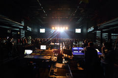 The control panel sound and light on DAUGHTRY group performs Stock Image