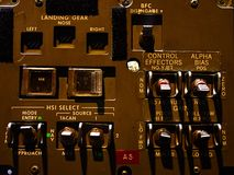 Control panel of space shuttle landing gear displayed on space expo. Control panel of space shuttle landing gear displayed on space exhibition Stock Images