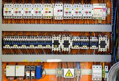 Control panel with static energy meters and circuit-breakers Stock Photos