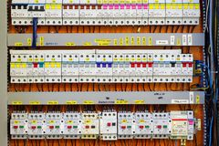 Control panel with static energy meters and circuit-breakers Royalty Free Stock Images