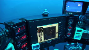 Control Panel of the submarine underwater in Pacific Ocean. Cocos Island, Costa Rica - 21 September 2015: Extreme diving. Swim in world of unique wildlife cave stock video