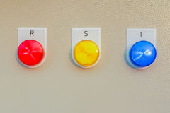 Control panel switch button for main engine room, can use to mon Royalty Free Stock Images
