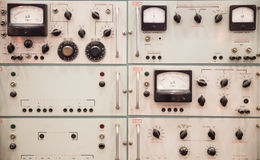 Control panel. Vintage Soviet control panel in a laboratory Royalty Free Stock Photo