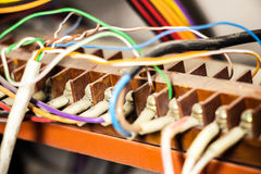 Control panel with wires. Control panel with electric wires cable. Wiring Royalty Free Stock Image