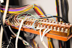 Control panel with wires. Control panel with electric wires cable. Wiring Stock Photos
