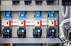 Control panel with wires in industrial workshop Royalty Free Stock Photo