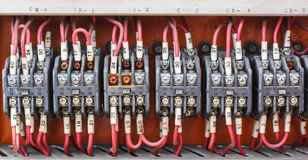 Control panel with wiring - cords old. Stock Photos